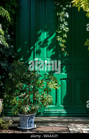 A bright green door with green plants at Claude Monet's garden in Giverny, France - Stock Photo