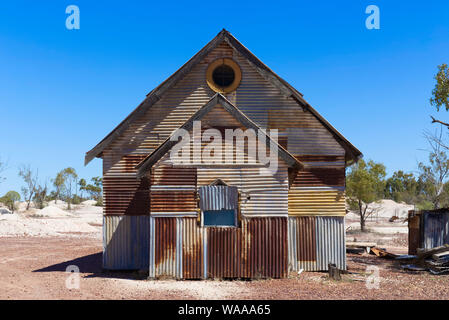 The Corrugated Iron Church was built as part of the 'Goddess of 1967'  movie film set in Lightning Ridge  New South Wales Australia - Stock Photo