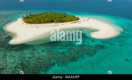 Tropical island with beautiful beach, palm trees and turquoise water view from above. Patawan island with sandy beach. Summer and travel vacation concept.