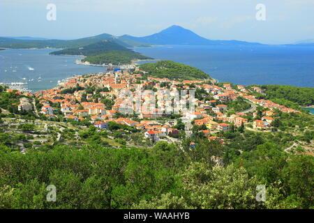 Mali Losinj, panoramic view from Providenca view point, Adriatic sea, Croatia - Stock Photo