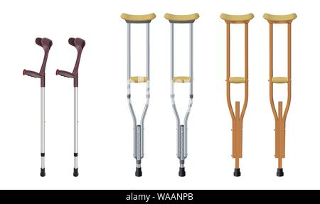 Set of crutches. Elbow crutch, telescopic metal crutch, wooden crutch. Medical equipment for rehabilitation of people with diseases of musculoskeletal - Stock Photo