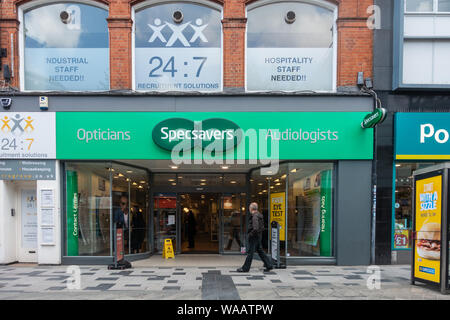 The front of Specsavers Opticians on High Street in SLough, Berkshire, UK. - Stock Photo
