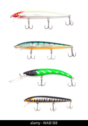 Multicolored lure baubles and wobblers for fishing on a white background, isolate, fishing gear, fishing tackle - Stock Photo