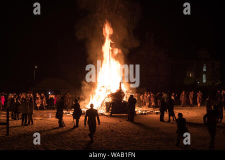The burning of the galley at the spectacular 2019 Up Helly Aa festival in Lerwick, Shetland - Stock Photo