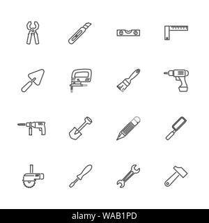 Tools, Building Tool outline icons set - Black symbol on white background. Tools, Building Tool Simple Illustration Symbol - lined simplicity Sign. Fl - Stock Photo