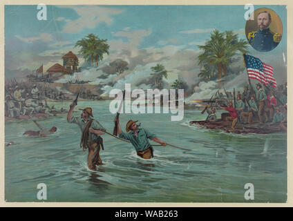 Col. Funston and 20th Kansas volunteers crossing the river at Calumpit, April 26th 1899 / A. Hencke '99. - Stock Photo