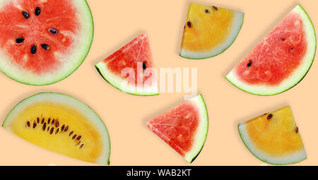 Variety of whole and sliced watermelon fruits isolated background - Stock Photo