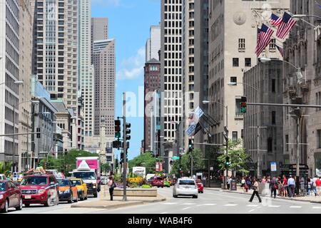 CHICAGO, USA - JUNE 28, 2013: People drive in downtown Chicago, USA. Chicago is the 3rd most populous US city with 2.7 million residents (8.7 million - Stock Photo