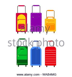 colored travel suitcases on wheels with handles, vector set on a white background - Stock Photo