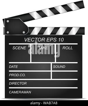 High quality render of a movie clapper board. - Stock Photo