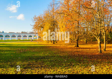 Veliky Novgorod, Russia - October 21, 2018. Yaroslav courtyard and ancient arcade and Kremlin on the background in Veliky Novgorod, Russia, autumn Oct - Stock Photo