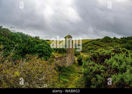 Fishguard, Pembrokeshire, Wales, UK. 2019. Fort  ruins of an old artillery fort on Castle Point Headland. - Stock Photo