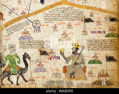 Detail from the Catalan Atlas Sheet 6 showing a Map of the Western Sahara and Mansa Musa, 1375 Stock Photo