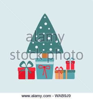 Christmas card with a Christmas tree in a bucket and gifts, New Year s design greeting cards, vector illustration - Stock Photo