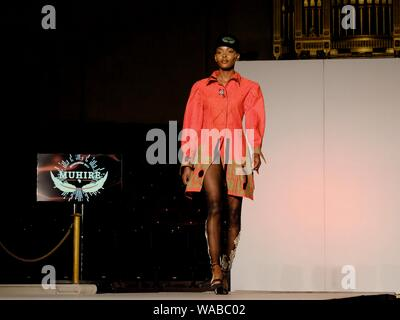 Designer Muhire showcases work on the catwalk at the Africa Fashion Week held at the Freemason's Hall, London. - Stock Photo