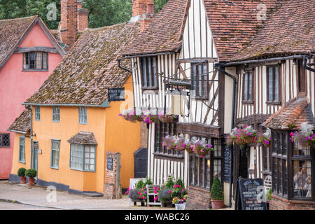 The picturesque timber-framed village of Kersey, Suffolk, England, UK