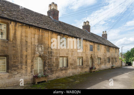 Row of cottages in Mill Lane in the pretty Cotswold town of Winchcombe, near Cheltenham, in Gloucestershire, UK - Stock Photo