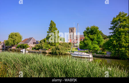 The Priory Hotel on the river Frome on Wareham, Dorset UK - Stock Photo