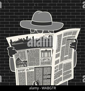 Illustration Vector Man In Hat With Newspaper Spies - Stock Photo
