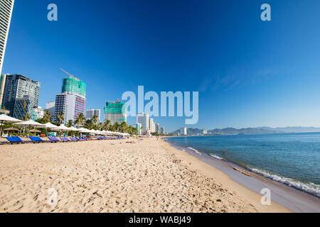 NHA TRANG, VIETNAM - SEPTEMBER 26, 2018:  The promenade and main beach of Nha Trang on a warm September day on September 26, 2018 - Stock Photo