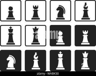 Vector illustration. Chess pieces in flat and geometric style. - Stock Photo