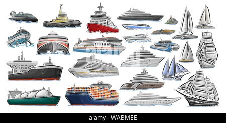Vector set of different Ships and Boats, collection of isolated water transport icons, cut out design illustration of polar ice breaker, hover craft, - Stock Photo