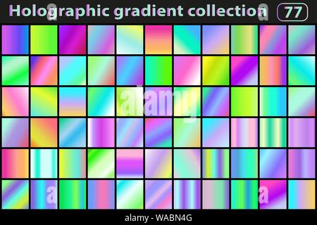 Holographic set of gradients. Color swatches. Neon modern gradient or background collection. Vector illustration - Stock Photo