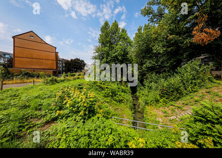 Herne, Ruhr area, North Rhine-Westphalia, Germany - Dorneburger Muehlenbach, before the renaturation here still an open, above-ground waste water chan - Stock Photo