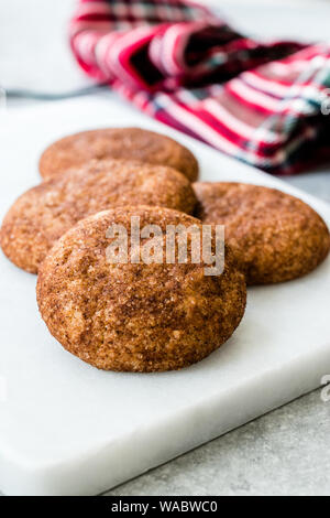 Cinnamon Cookies Snickerdoodle on Marble Board. Organic Sweet Snacks. - Stock Photo