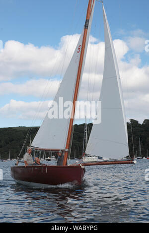 Falmouth 18 ft Restricted Class, No.5, 'Francis' in the entrance to the Percuil River, St. Mawes, Cornwall, UK - Stock Photo