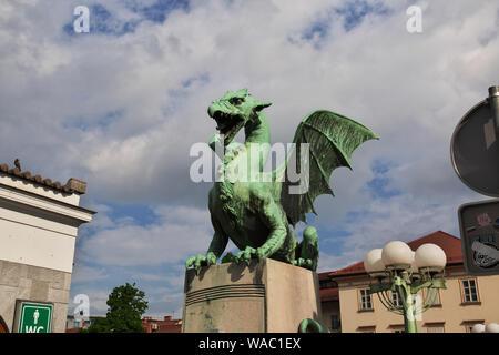 The dragon on bridge in Ljubljana, Slovenia - Stock Photo