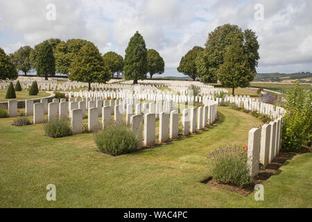 cabaret rouge british cemetery from  world war 1  near Arras France with 7650 graves - Stock Photo