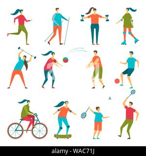 People doing sport exercises. Vector set healthy lifestyle - Stock Photo