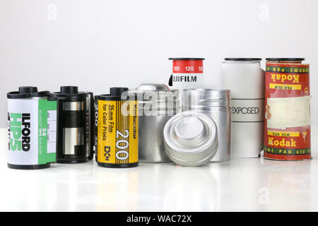 Old photography film rolls - Stock Photo
