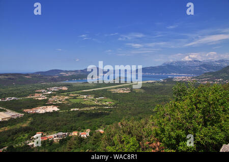 The view on airport in Montenegro, the Adriatic Coast - Stock Photo