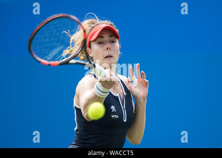 Alize Cornet of France playing single handed forehand against Caroline Wozniacki of Denmark at Aegon International 2016, Eastbourne, England. Sunday, - Stock Photo