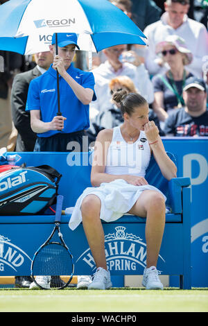 Aegon International 2016, Eastbourne, England - Karolina Pliskova of Czech Republic during match against Dominika Cibulkova of Slovakia. Saturday, 25, - Stock Photo