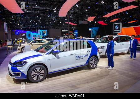 --FILE--A pure electric vehicle e-Golf of Volkswagen Group is displayed during the 18th Shanghai International Automobile Industry Exhibition, also kn - Stock Photo