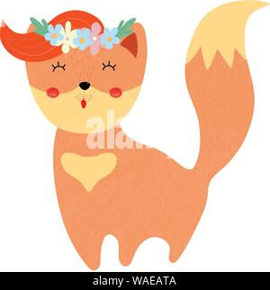 Cute fox in floral wreath isolated on white background, adorable kids print for nursery, tshirt design, baby girl shower card. Cartoon flat vector ill - Stock Photo