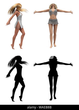 Blond hair 3d girls and silhouette isolated on white. - Stock Photo