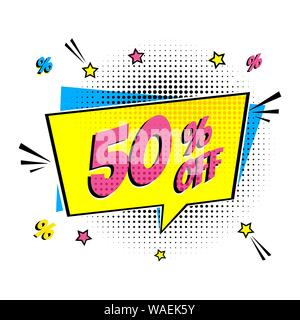 Comic lettering 50 percent off SALE - Stock Photo