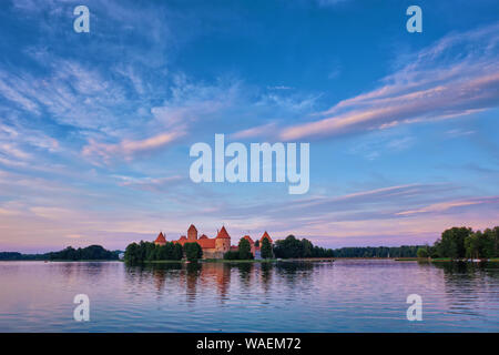 Trakai Island Castle in lake Galve, Lithuania - Stock Photo