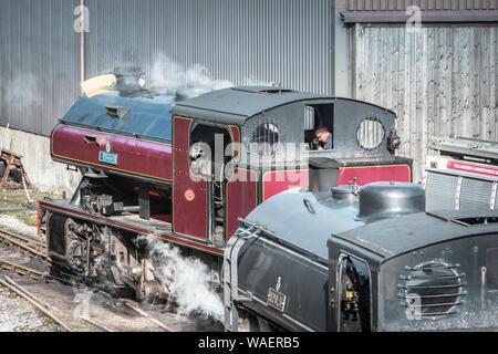 Steam trains at Haverthwaite Station on the Lakeside and Haverthwaite Heritage Railway near Ulverston, Cumbria, UK - Stock Photo
