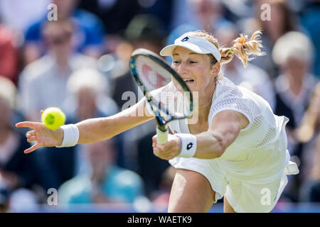 Aegon International 2016, Eastbourne, England -  Ekaterina Makarova of Russia playing single handed forehand against Tara Moore of Great Britain. Mond - Stock Photo