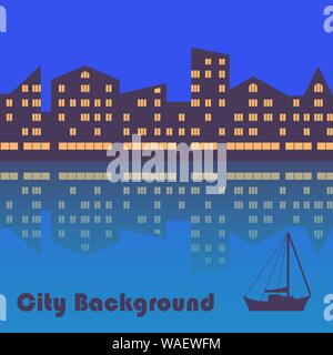 Illustration of the city with evening illumination. Abstract background - Stock Photo