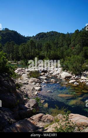 Solenzara River, Regional Natural Park of Corsica, France, July 2018 - Stock Photo
