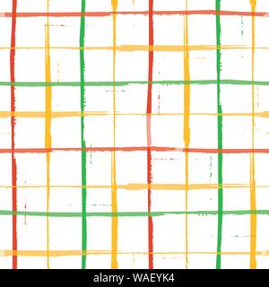 Spacious hand painted green, gold and red Christmas grunge grid design. Seamless geometric vector pattern on fresh white background. Great for - Stock Photo