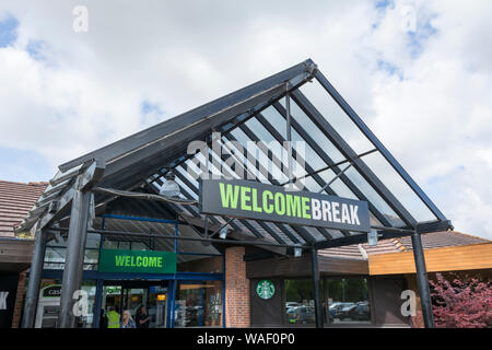 Entrance to Warwick services Welcome Break motorway service station on the M40