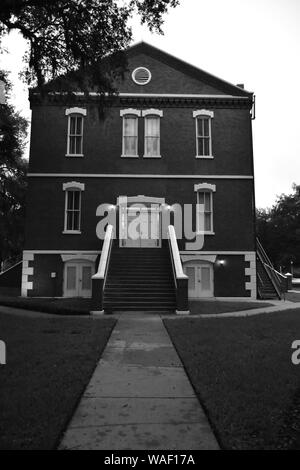 I created this architectural photograph of the Historic Osceola County Courthouse in 2019. A Black And White Photograph of the Historic Courthouse. - Stock Photo