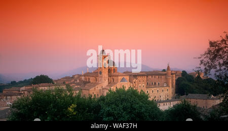 Italy marche Urbino - Panorama with Cathedral and Ducal palace - Stock Photo
